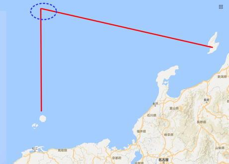 北朝鮮ミサイル落下地点隠岐